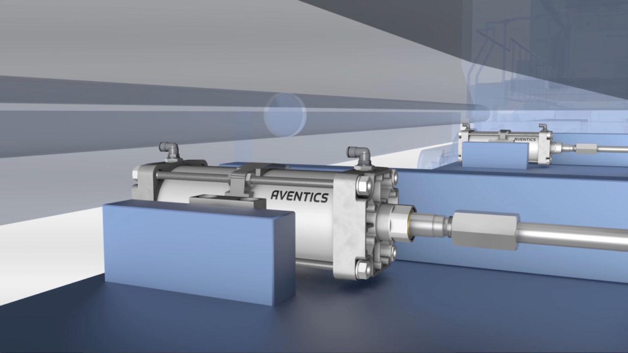 tecmotion - 3D-Animation eines Zuges, Pneumatik-Komponente AVENTICS, Abb. 3