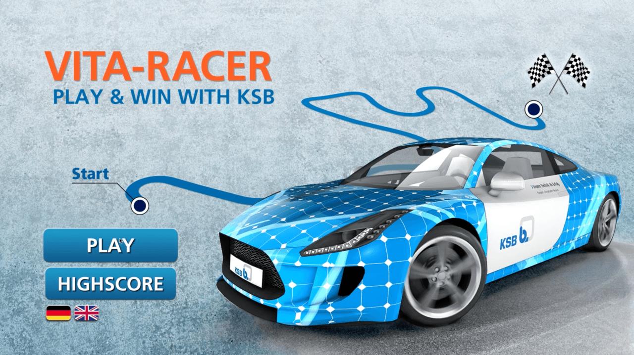 tecmotion - Startscreen des Messespiels VITA-Racer für KSB, Rennspiel