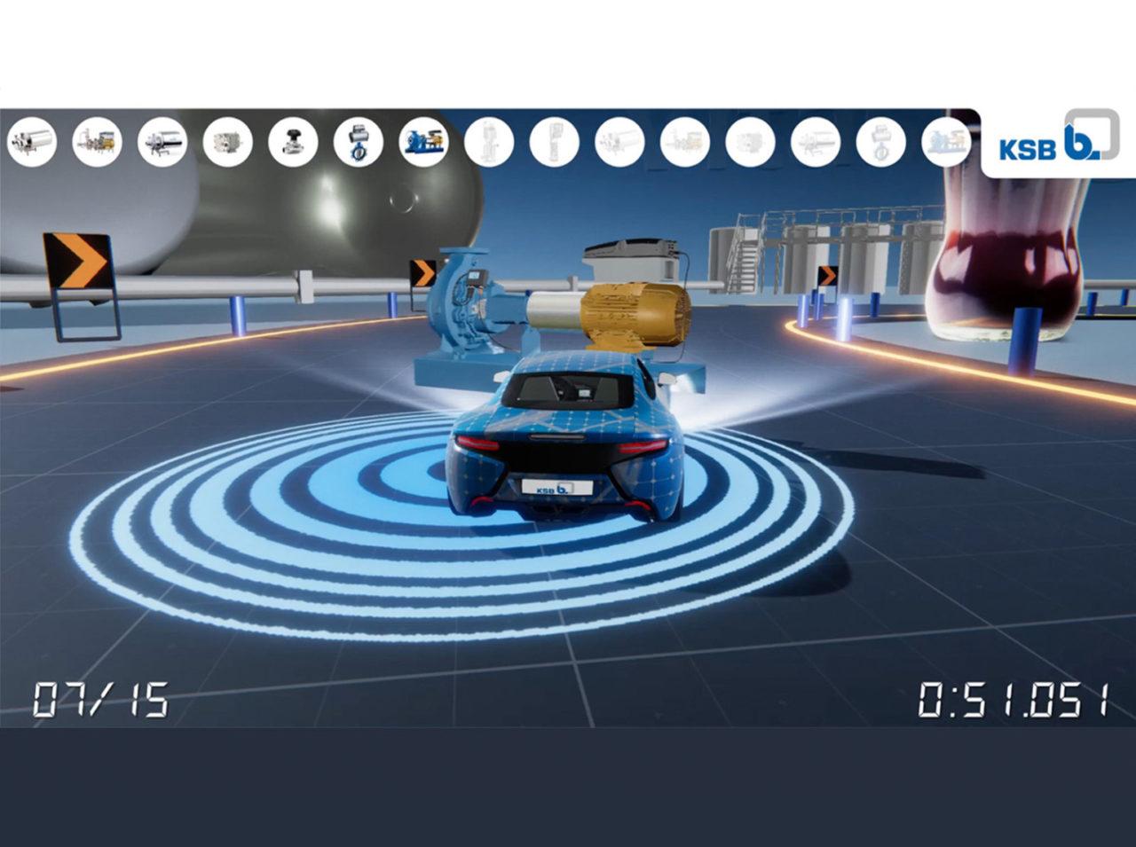 tecmotion - Ausschnitt aus dem Messespiel VITA-Racer für KSB, Rennspiel