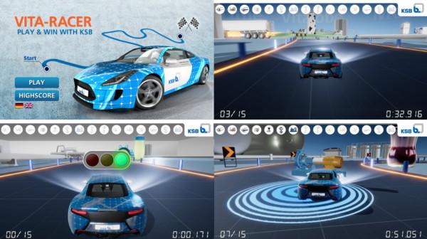 tecmotion - Collage aus Ausschnitten des Messespiels VITA-RACER für KSB