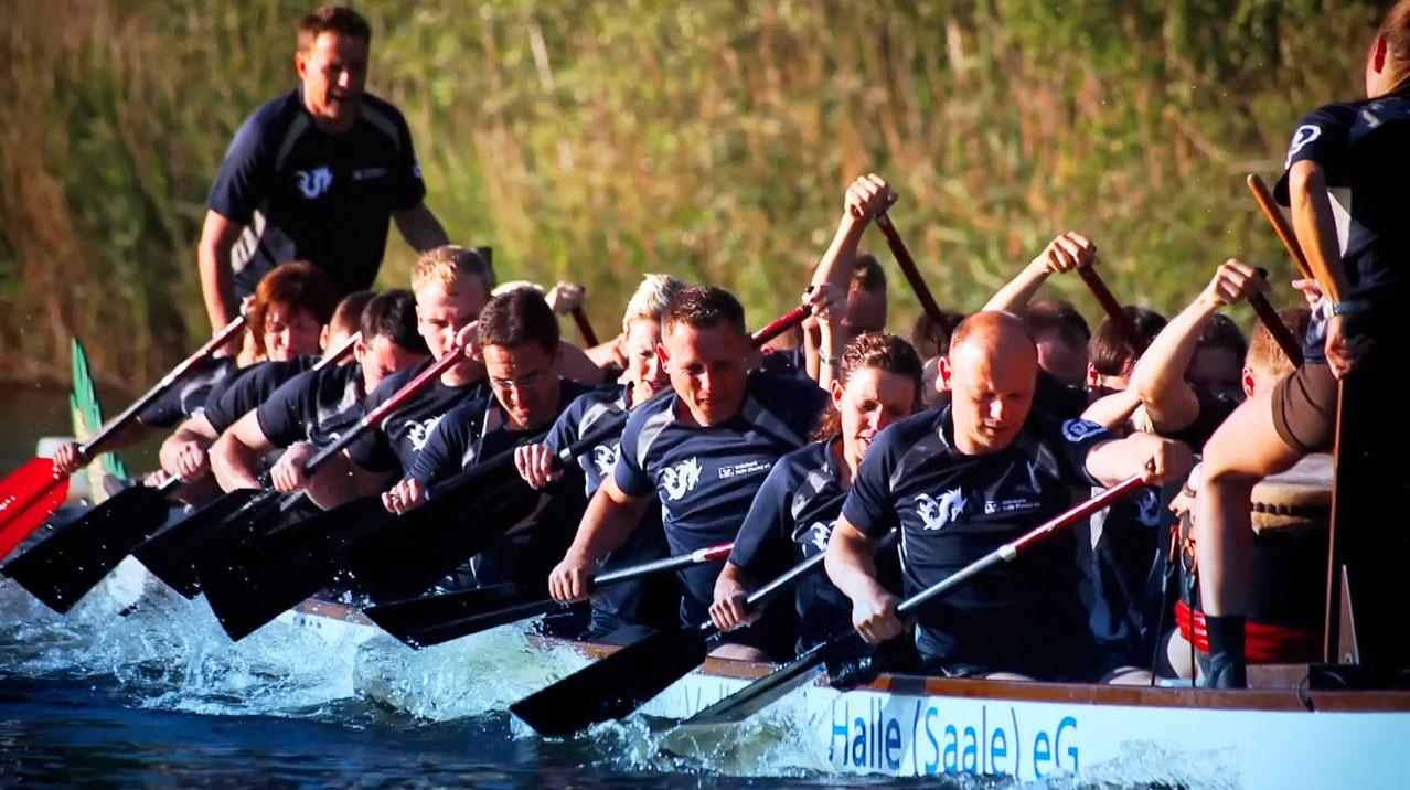 tecmotion - Imagefilm der Volksbank Halle, Teilnahme am Drachenbootrennen