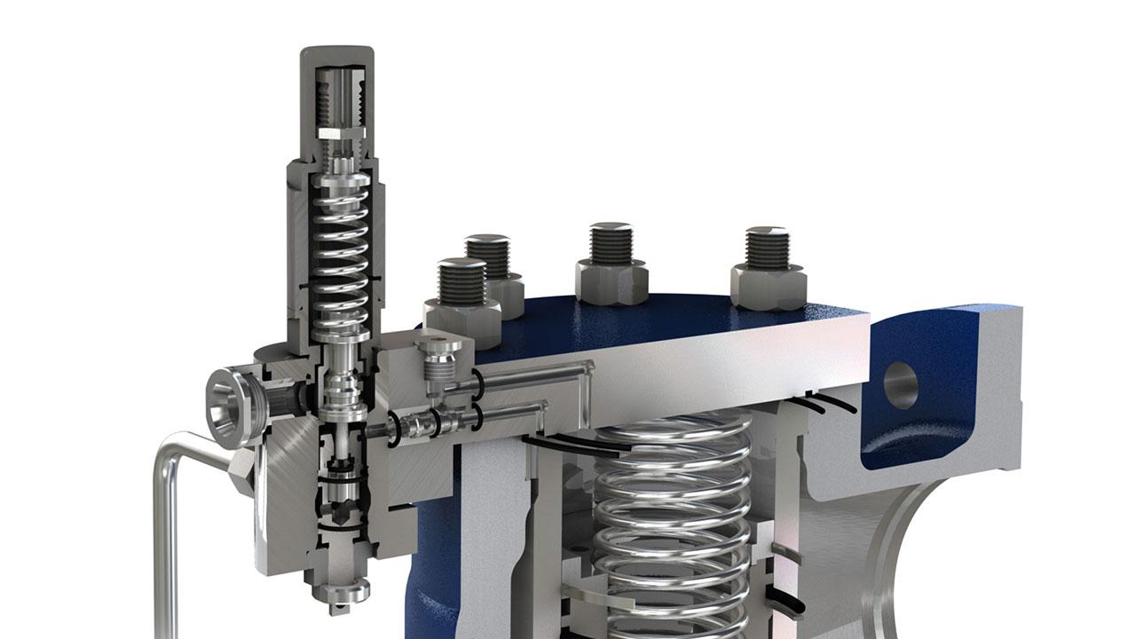 tecmotion - Rendering für ein Sicherheitsventil von LESER, Abb. 03 Detailansicht