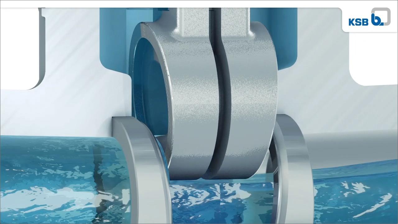 tecmotion - Animation Absperrkörper KSB, Detail mit Funktionsdarstellung und Wasseranimation