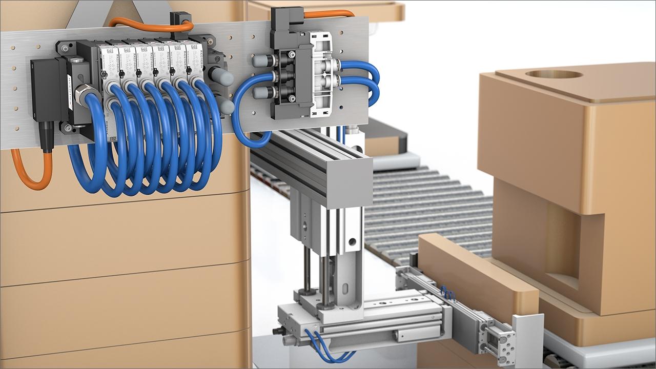 tecmotion - Produktanimation AVENTICS Pneumatik, Ventileinheit AV03/AV05