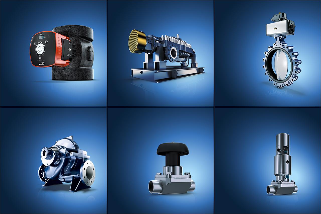 tecmotion - 3D Renderings Pumpen von KSB, verschiedene Blaue Klammer-Motive