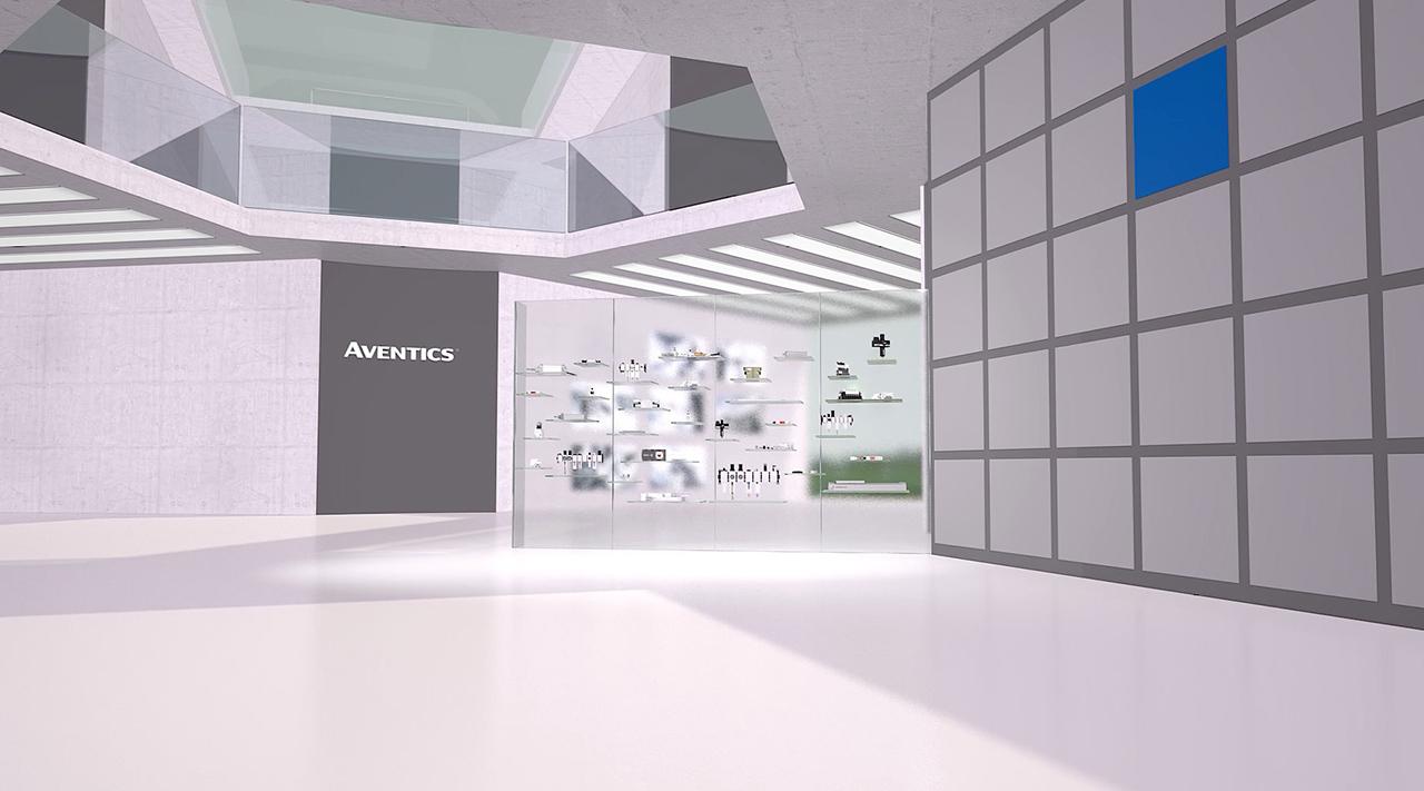 tecmotion - Emerson-Expertisefilm, Ausschnitt 02 Virtueller Raum, Ansicht mit Produktvitrine