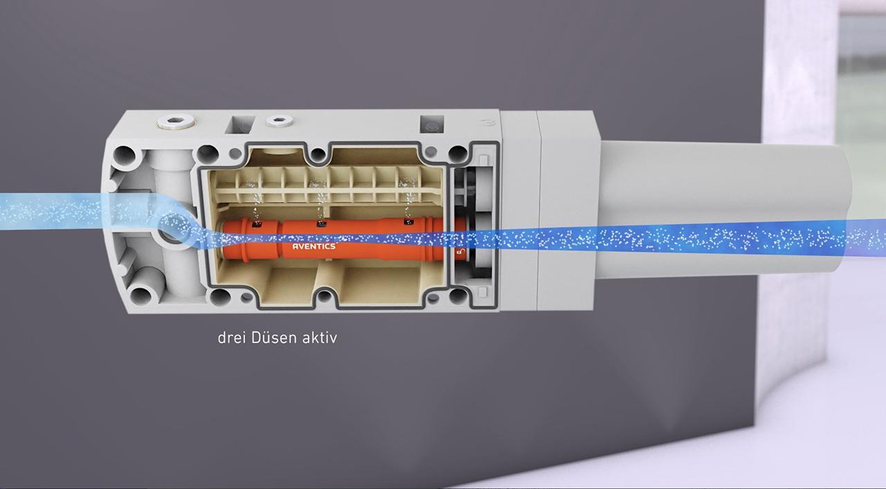 tecmotion - Produktfilm Emerson EMS, Ausschnitt 02 Produktanimation Pneumatik-Bauteil, Luftstrom