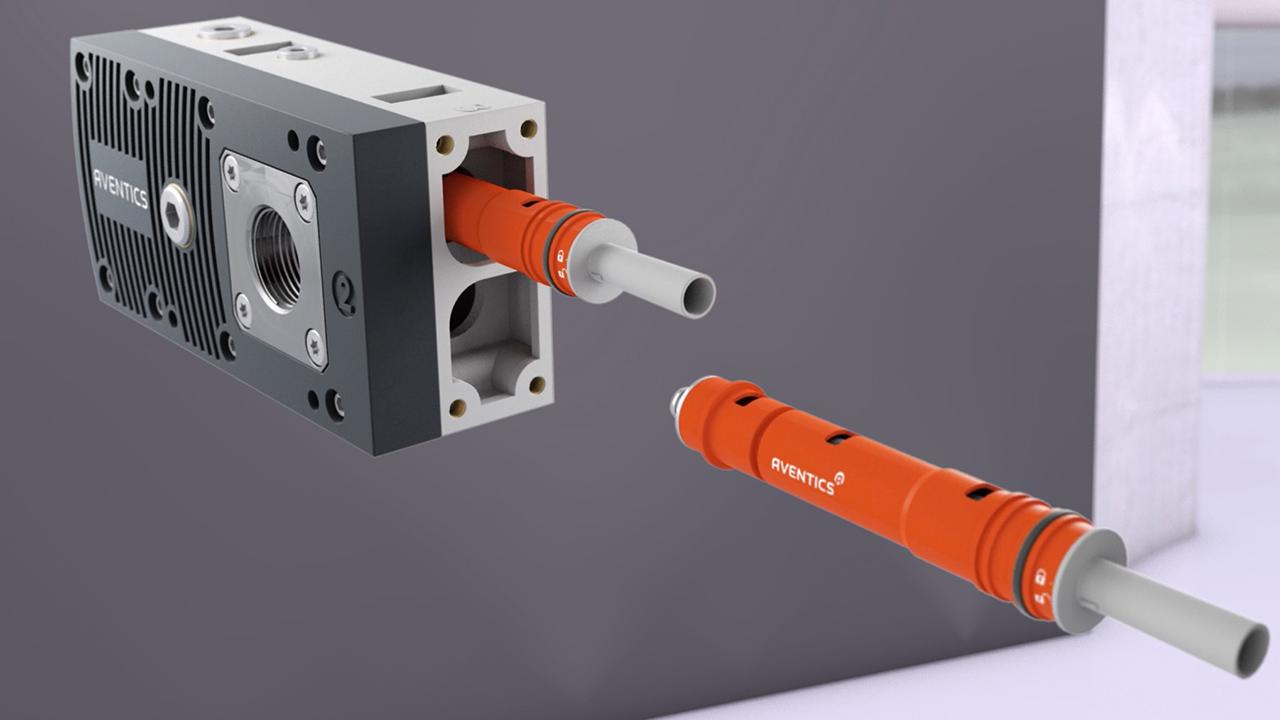 tecmotion - Produktfilm Emerson EMS, Ausschnitt 03 Produktanimation Pneumatik-Bauteil, Komponenten