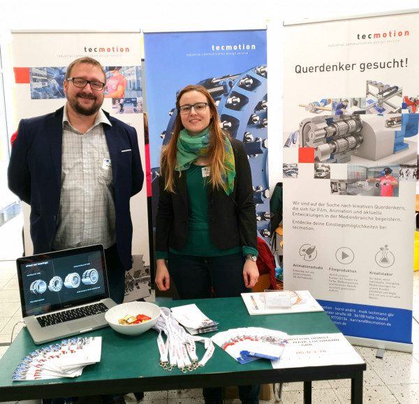 tecmotion - Auf der Firmenkontaktmesse 2019 der Hochschule Merseburg; Mirko Claus und Franziska Werner