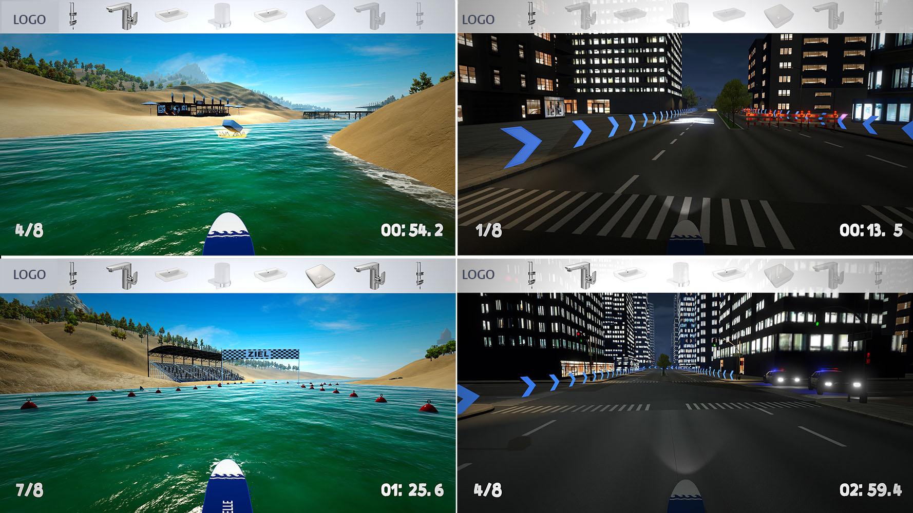 tecmotion - Corporate Games CityBoard (rechts) und SurfBoard (links)- Spielausschnitte 1
