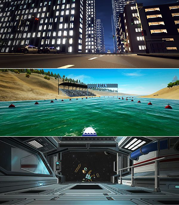 tecmotion - Corporate Games 2020 Collage mit Ausschnitten aus den Spielen CityBoard, SurfBoard, SpaceBoard