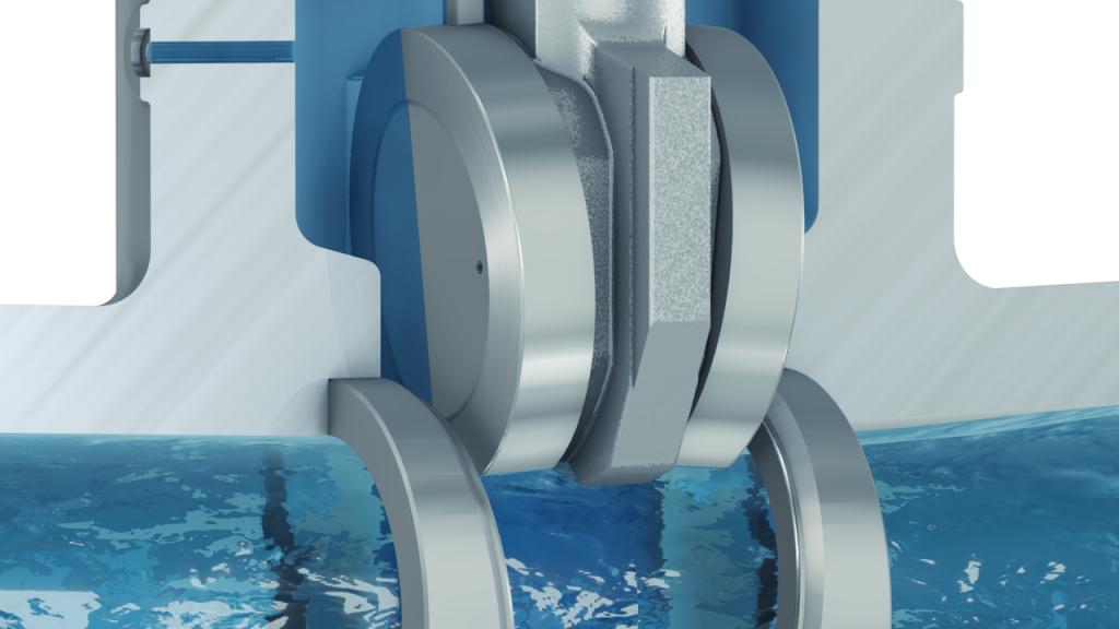 tecmotion - technische 3D-Animation für KSB, Absperrkoerper mit Wasserdurchfluss