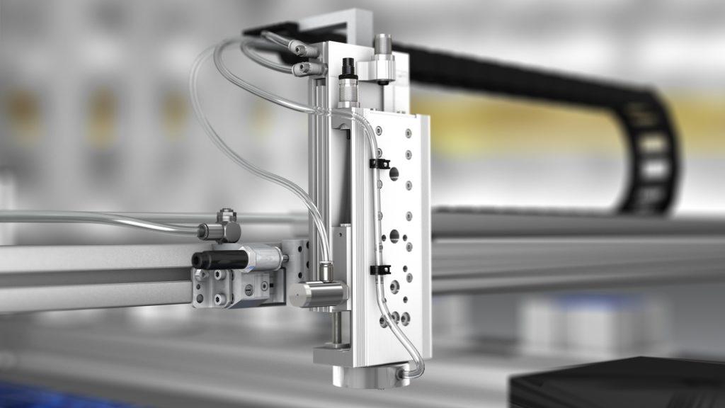 tecmotion - Ausschnitt aus technischer 3D Animation für Emerson Aventics, Pneumatikkomponente in komplexer Applikation für Solarpanels