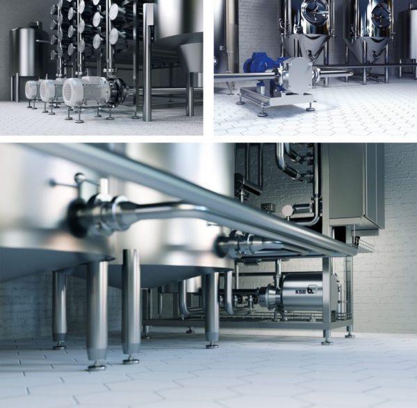 tecmotion – Collage aus Renderings, Brauereiprozesse